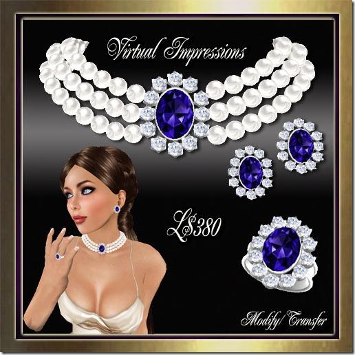 Kate Royal Wedding Jewelry Set in Pearls Sapphires & Diamonds