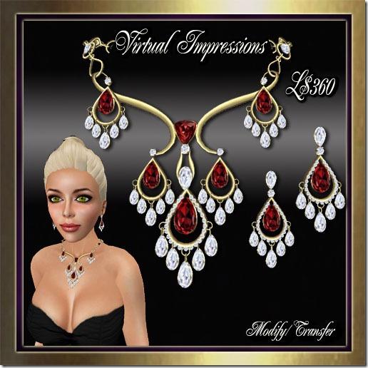 Paige Jewelry Set in Gold Ruby & Diamonds