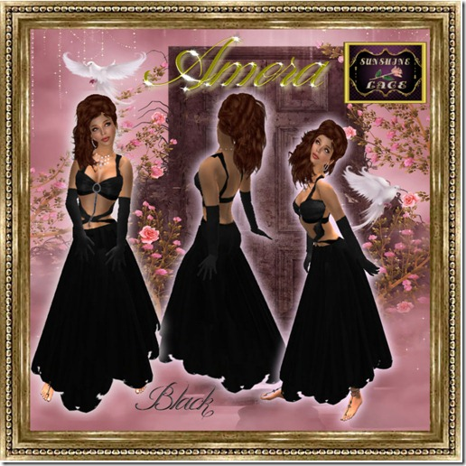 Amora Gown Black pic Framed