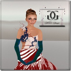 Independence 4th  formal Gown and Mini -ad Close up