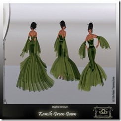 Kamile  Green Gown By Gelese Giano