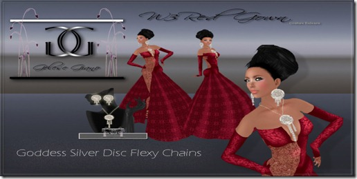 W3Red Gown silver  disc goddess jewlery - By Gelese Giano ad2