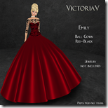 Emily Ball Gown red-black