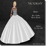 Emily Ball Gown white-black