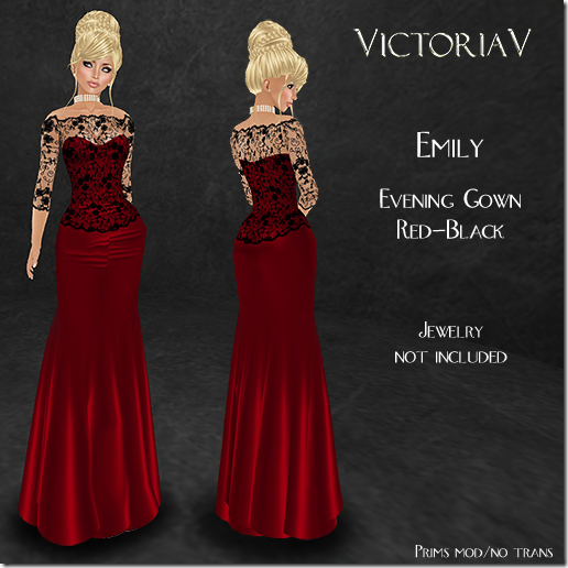 Emily Evening Gown red-black