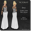 Emily Evening Gown white-black