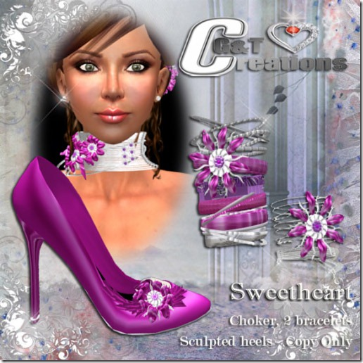 VENDOR sweetheart violet heels and jewels