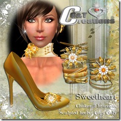 VENDOR sweetheart yellow heels and jewels