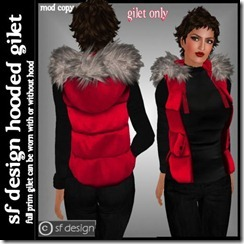 sf design womens hooded gilet red