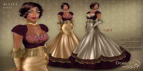DANIELLE Juliet Royal - 2 GOWNS FOR THE PRICE OF 1