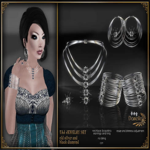 TAJ Jewelry Set - Old Siver and Black Diamond