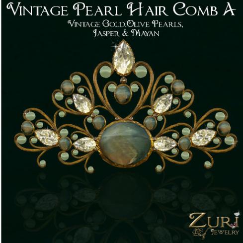 Vintage Pearl Hair Comb Jasper Mayan 512