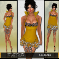 Casandra Party Dress in Gold