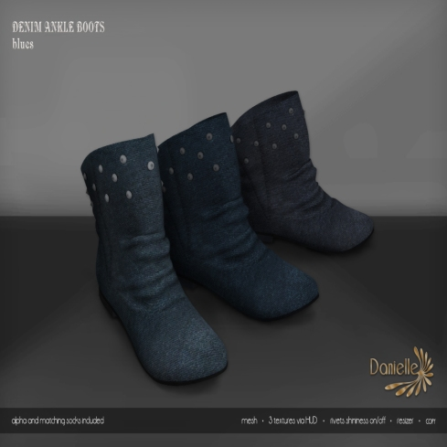 DANIELLE Denim Ankle Boots Blues