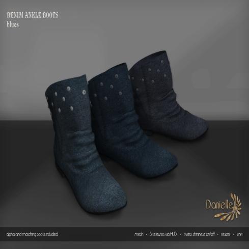 DANIELLE Denim Ankle Boots Blues
