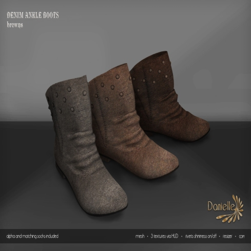 DANIELLE Denim Ankle Boots Browns