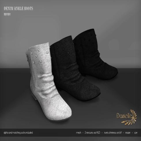 DANIELLE Denim Ankle Boots Mono